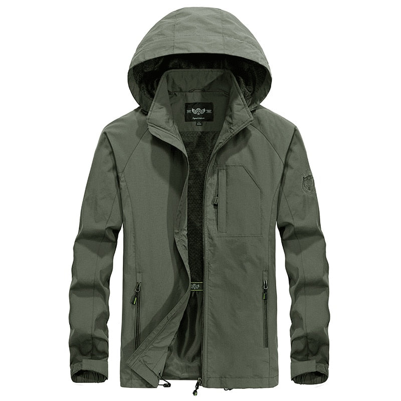 Men's Waterproof Military Jacket Spring Autumn Casual Windbreaker Jackets Mens Breathable Hooded Outdoor Thin Coats