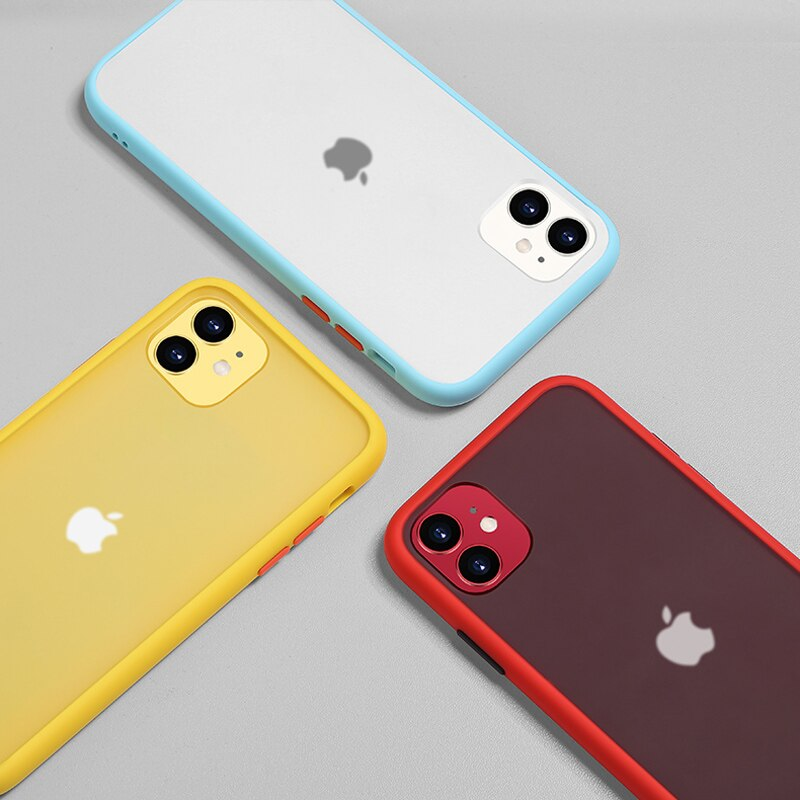 Luxury Contrast Frame Matte Case For iPhone