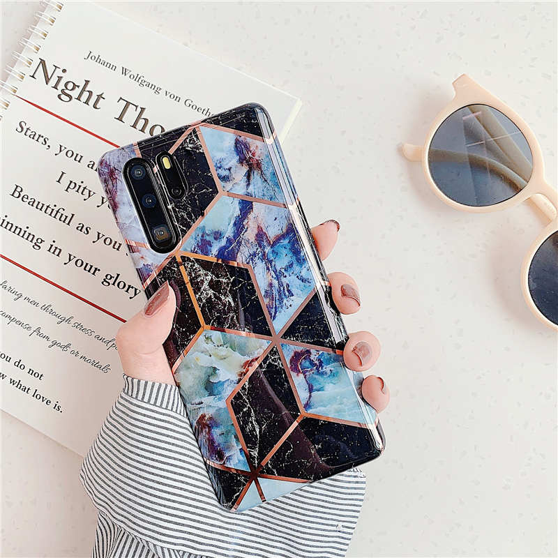 Plating  Silicone Soft Splice Geometric Marble Back Cover Phone  Case For huawei