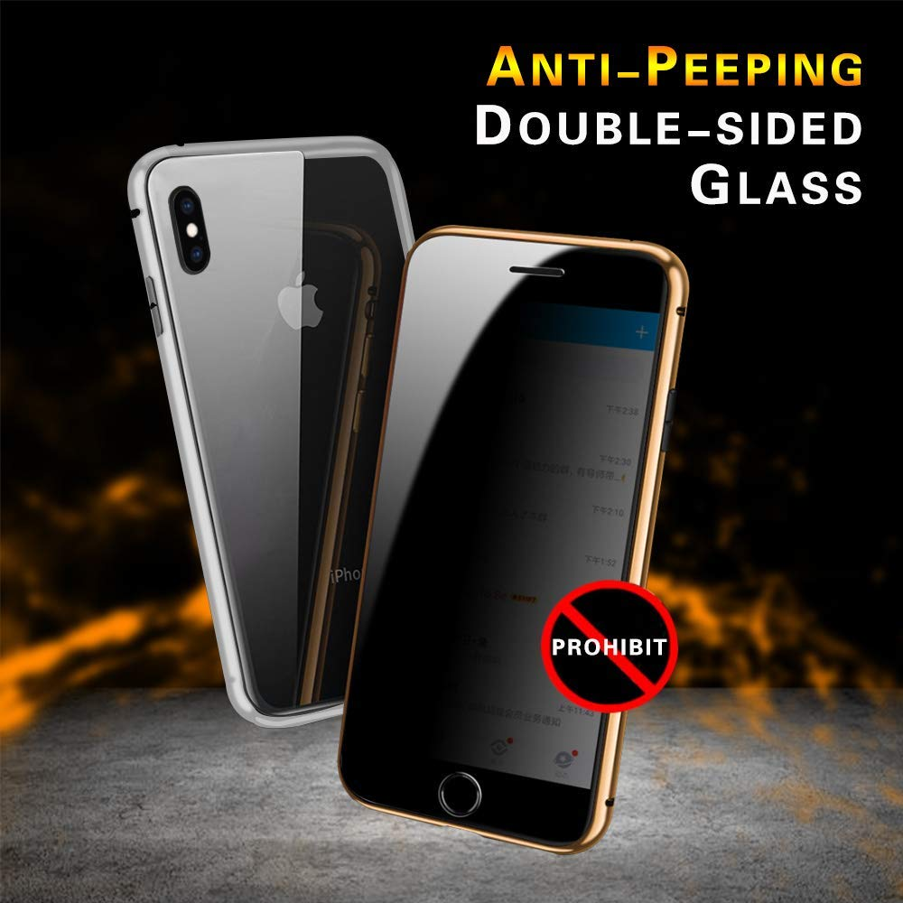 Privacy Tempered Glass Magnetic Case for iPhone