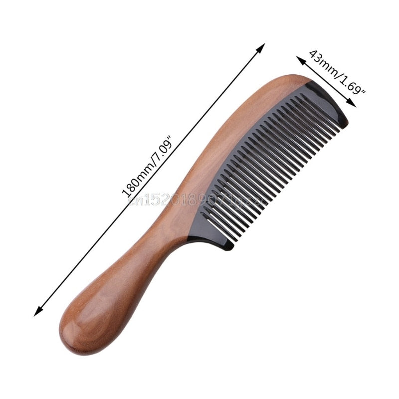 Natural Ox Horn Sandalwood Handle Comb