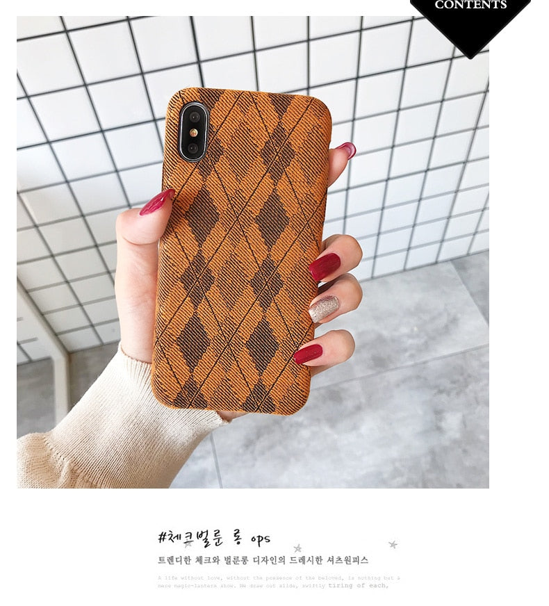 Retro Plaid Luxury Plush Silicone Case for iPhone