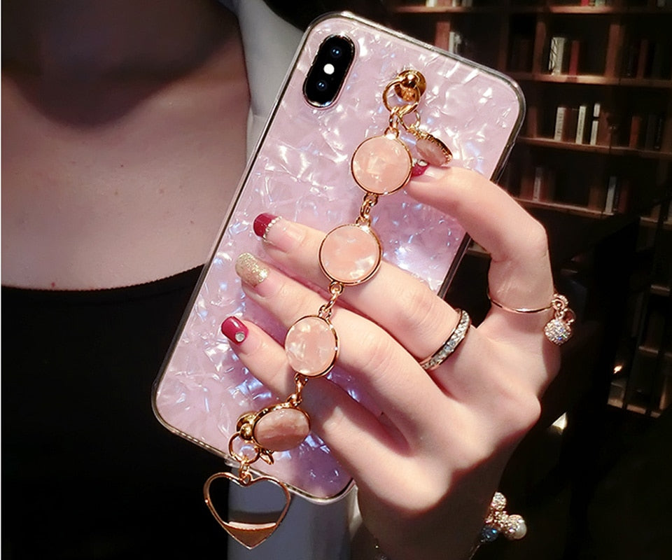 Diamond Wristband Soft TPU Phone Case For iPhone