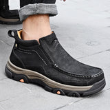 Top Quality Cow Leather Men's Walking Shoes Handmade Outdoor Climing Ankle Boots