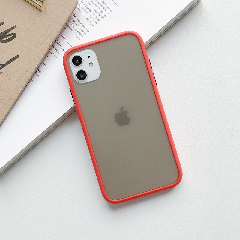 Transparent Shockproof Matte Case For iPhone