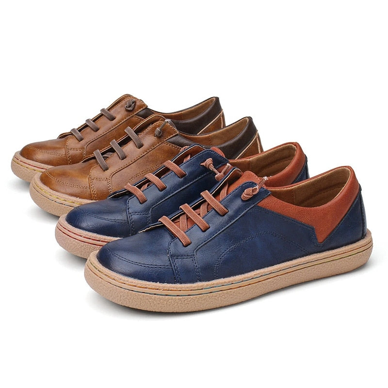 Women's Retro Leather Platform Mixed Color Casual Outdoor Shoes