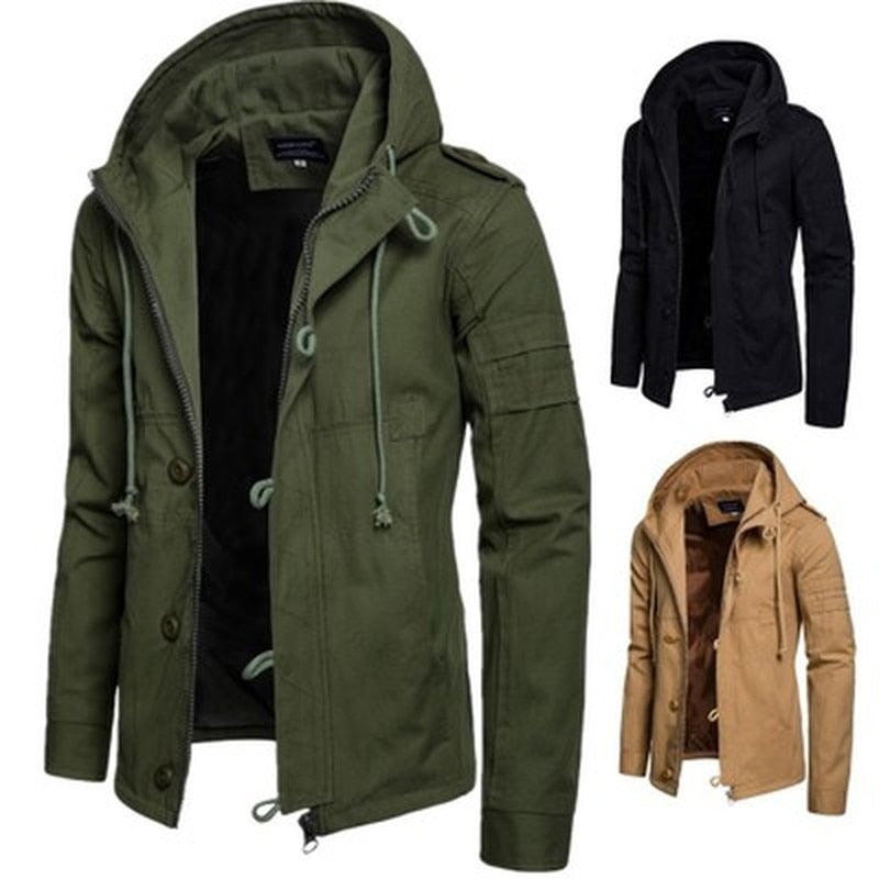 Men's Jacket Army Green Military Wide-waisted Coat Casual Cotton Hooded Windbreaker Jackets