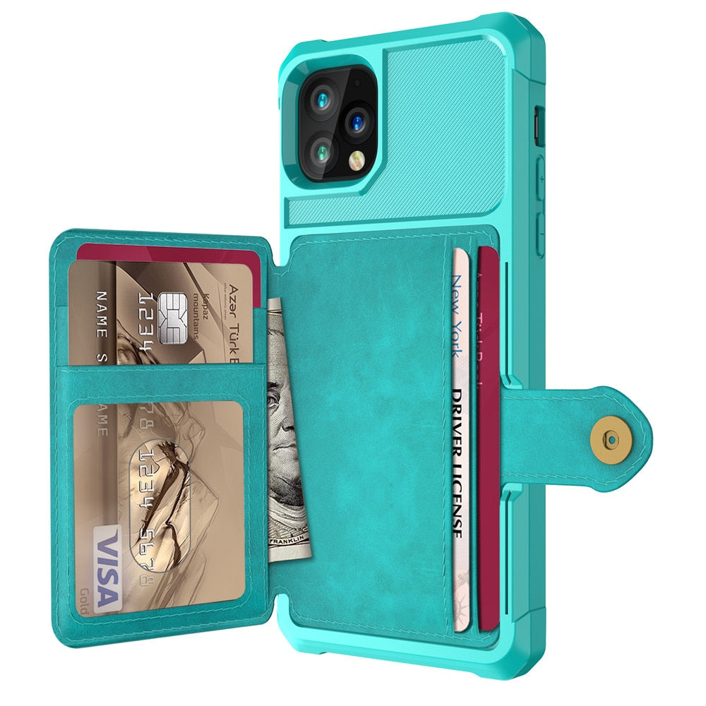 Leather Flip Wallet Holder Case For iPhone