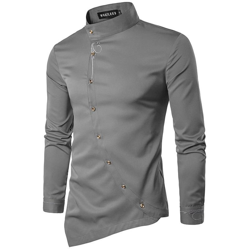 Fashion Oblique Button Irregular High-Grade Slim Men's Shirt