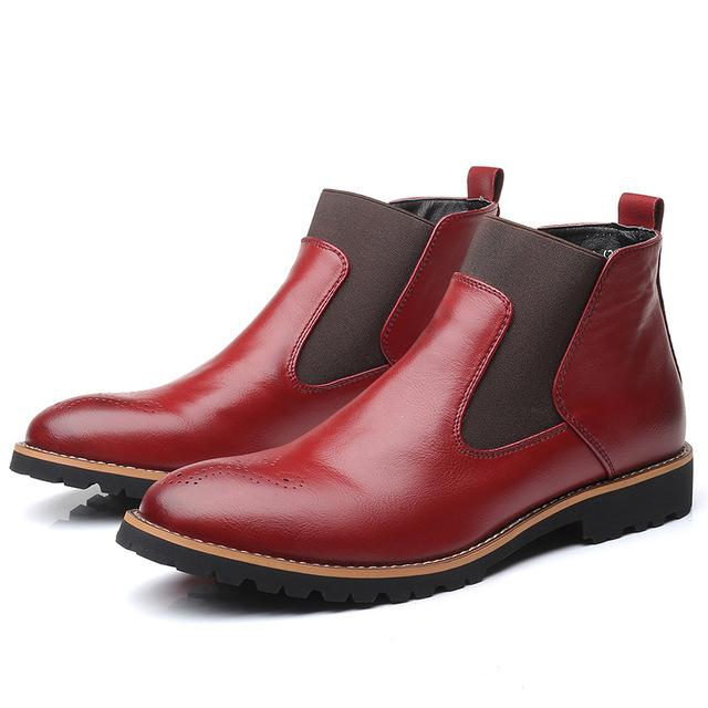 Fashion Slip-on Leather Brogue Men Chelsea Ankle Boots
