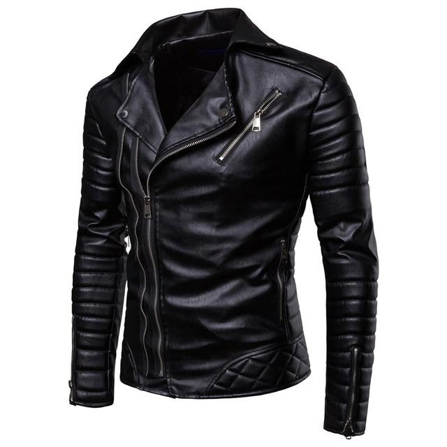 Motorcycle Zipper Leather Windproof Men's Jackets