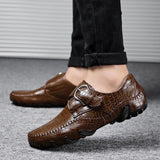Fashion Large Size Genuine Leather Moccasins Men Loafers Casual Shoes
