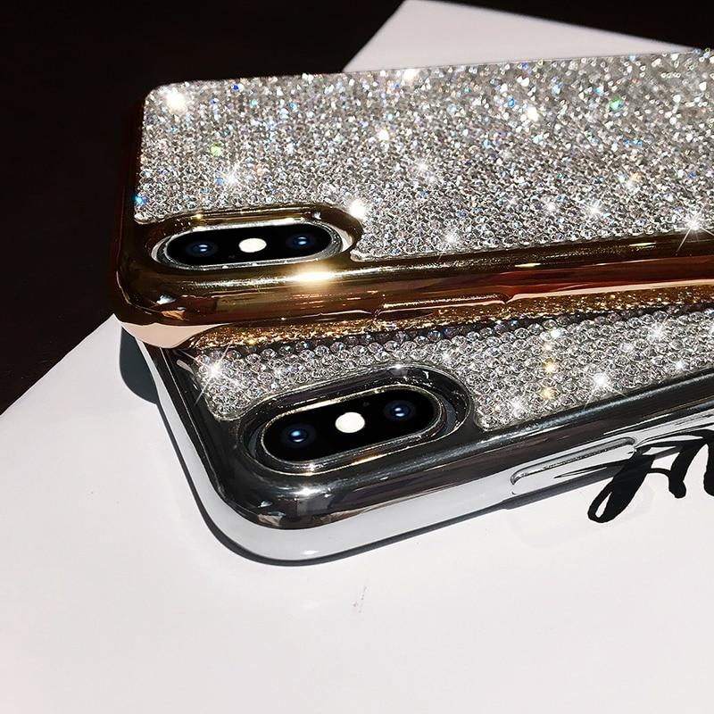 Luxury Plating Metal Rhinestone Glitter Bling Phone Case for iPhone