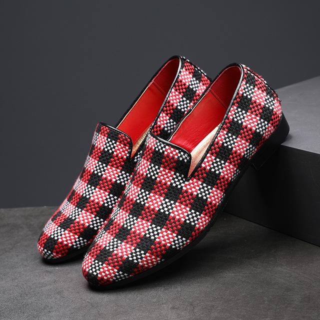 British Style Plaid Business Men's Casual Formal Shoes
