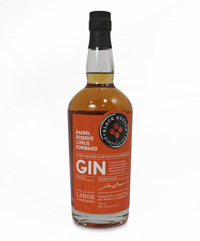 Black Button Distilling, Barrel Reserve Citrus Forward Gin, Finger Lakes, 750ml