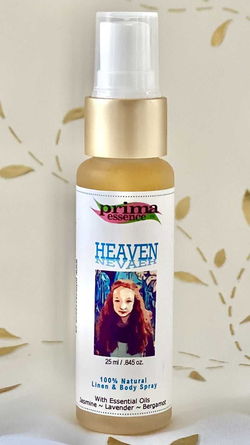 Heaven by Nevaeh Aromatic Linen and Body Spray with Jasmine, Bergamot and Vanilla by Prima Essence Canada