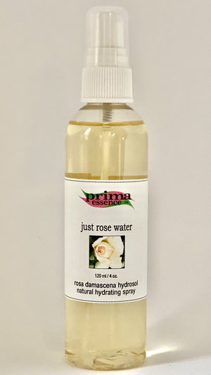Rose Water also known as a Hydrosol soothes and hydrates skin by Prima Essence Canada
