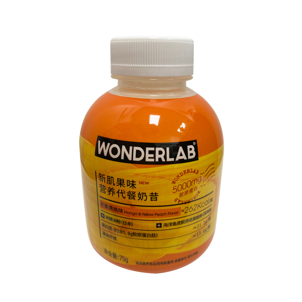 WONDERLAB EAL REPLACEMENT FRUITY MILK SHAKE -MANGO &PEACH新肌果味營飬代餐奶昔-芒果黃桃味75G
