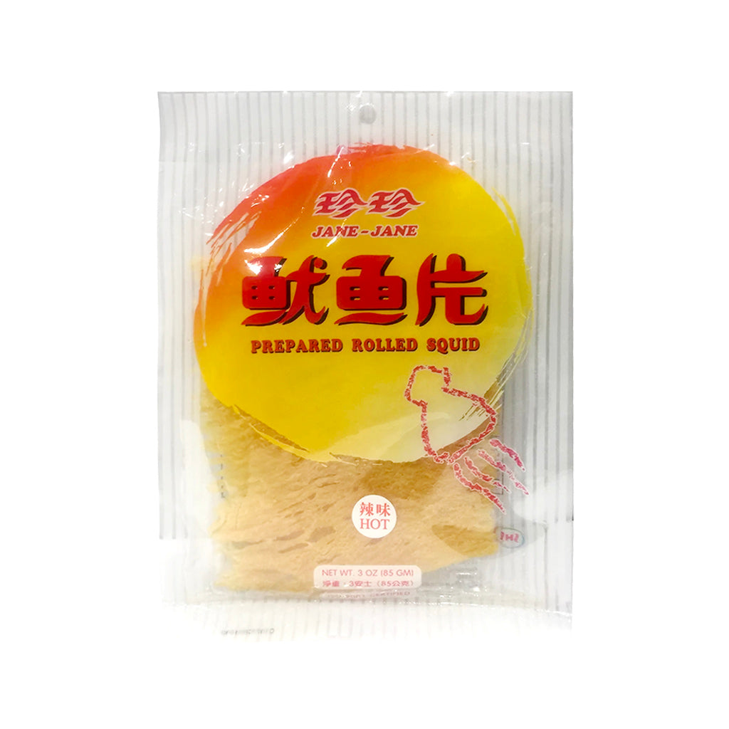 Jane-Jane Hot Prepared Rolled Squid 珍珍辣味魷魚片 3OZ