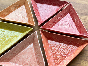 Set of Six Rose Triangle Plates - AA