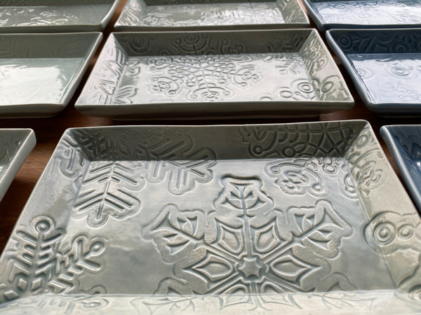 Snowflake Plate - Rectangular Cookie Plate - P