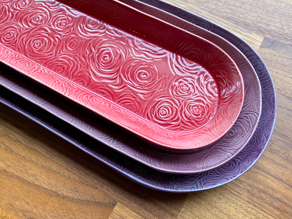 Set of Three Nesting Rose Platters - DD