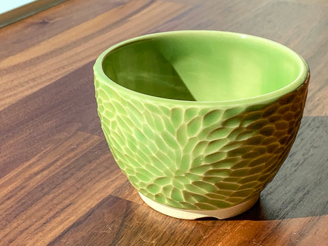 Carved Flower Flower Pot - F