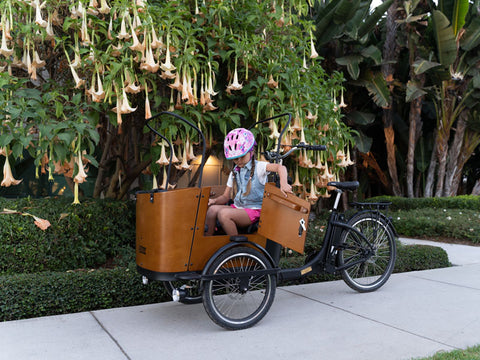 Child getting out of the Ferla Family Cargo Bike Royce Edition