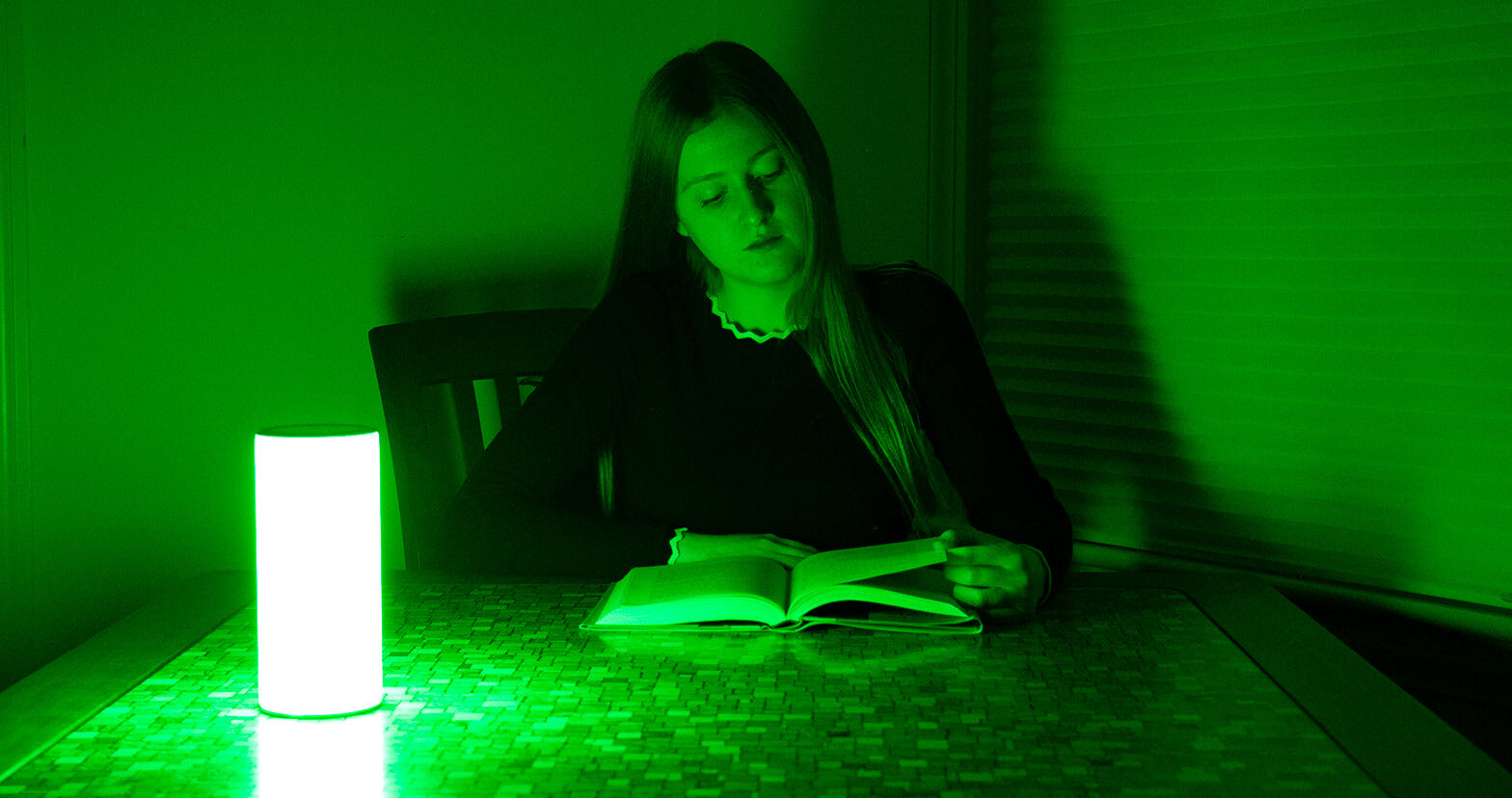 Woman Reads Book with Allay Lamp