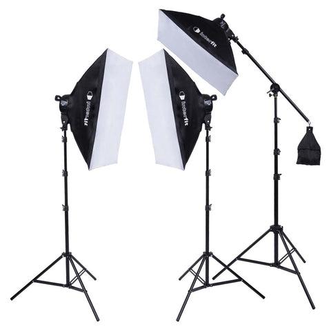 F5 3-Head Fluorescent Lighting Kit with Boom Arm