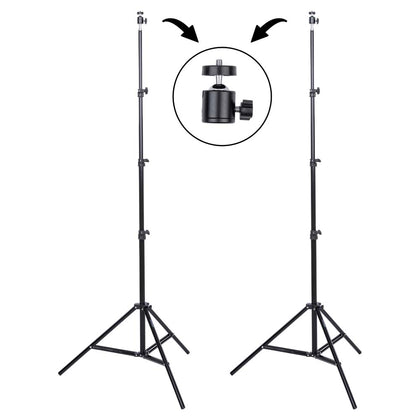 2 – Studio Essentials 7'6″ Value Stands with Ball Heads & Bag