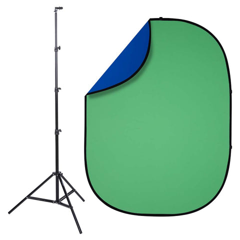 Studio Essentials Pop-Up Reversible Background Kit – Chroma Green / Blue