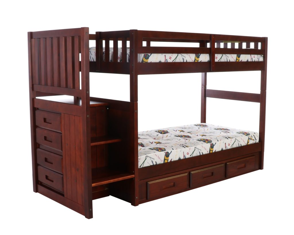 Twin Twin Staircase Bunk Bed Merlot Hardware Kit Discovery World Furniture