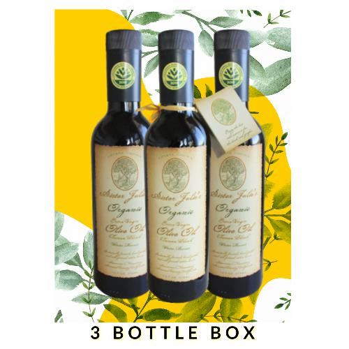 Sister Julie's Organic Extra Virgin Olive Oil (2019 Harvest) | 3 Bottle Box
