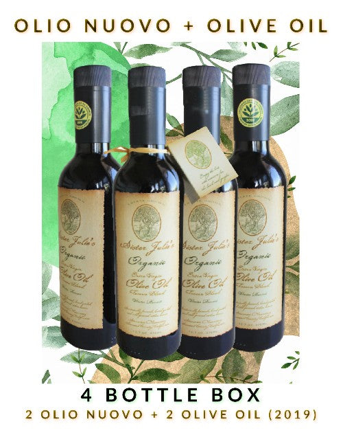 4 Bottle Variety Pack - 2 Olio Nuovo & 2 Sister Julie's Olive Oil