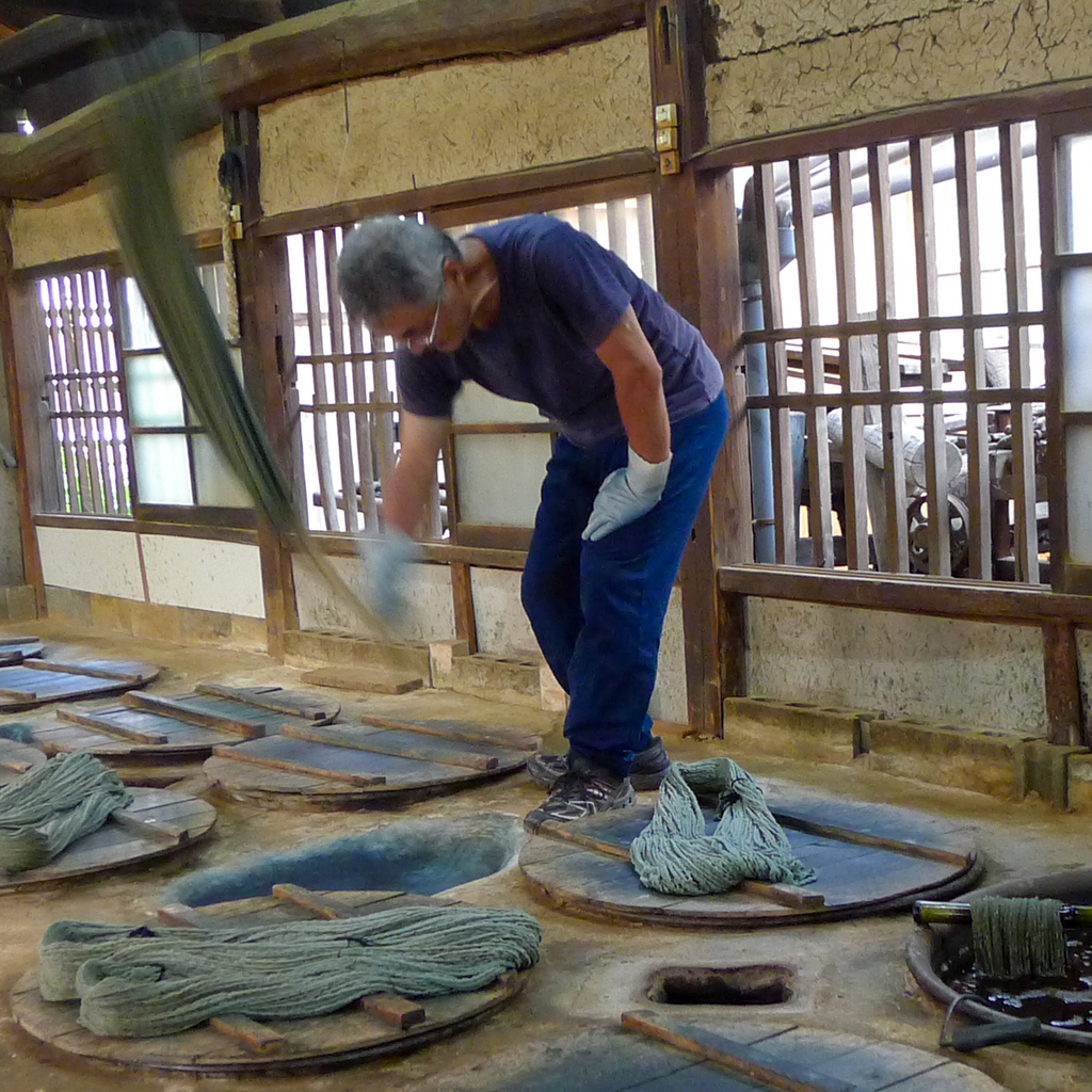 Traditional Natural indigo weaving from Japan