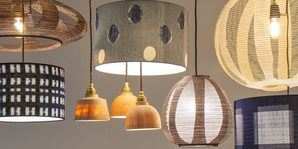 Beautiful selection of fabric, paper and wood Japanese lampshades