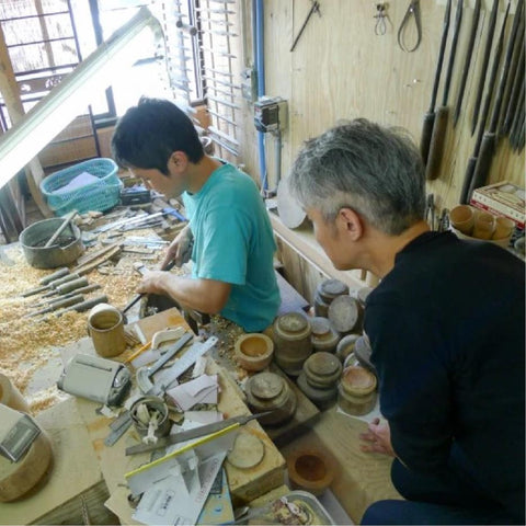 Kihachi san and Satake san traditional wood turning and lacquering in Japan