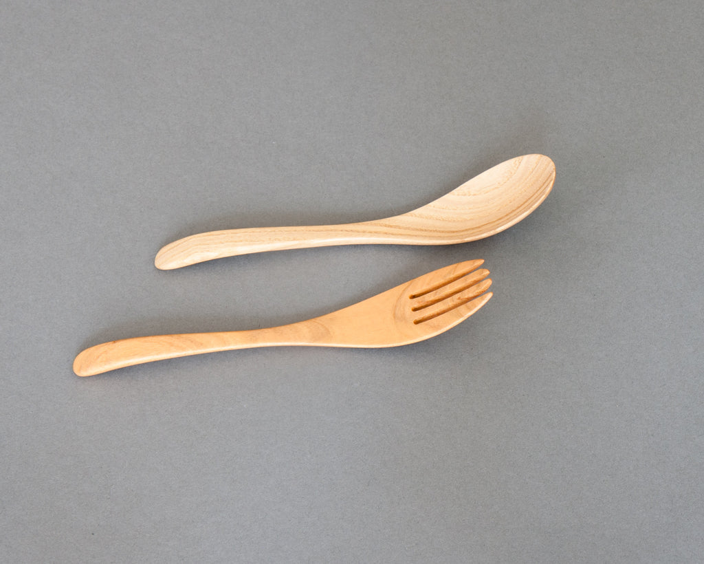 Natural lacquered fork and spoon handmade in Japan