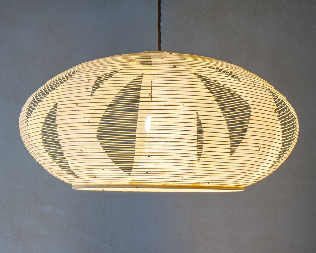 White Enban Skashi Japanese paper lamp shade - side lit