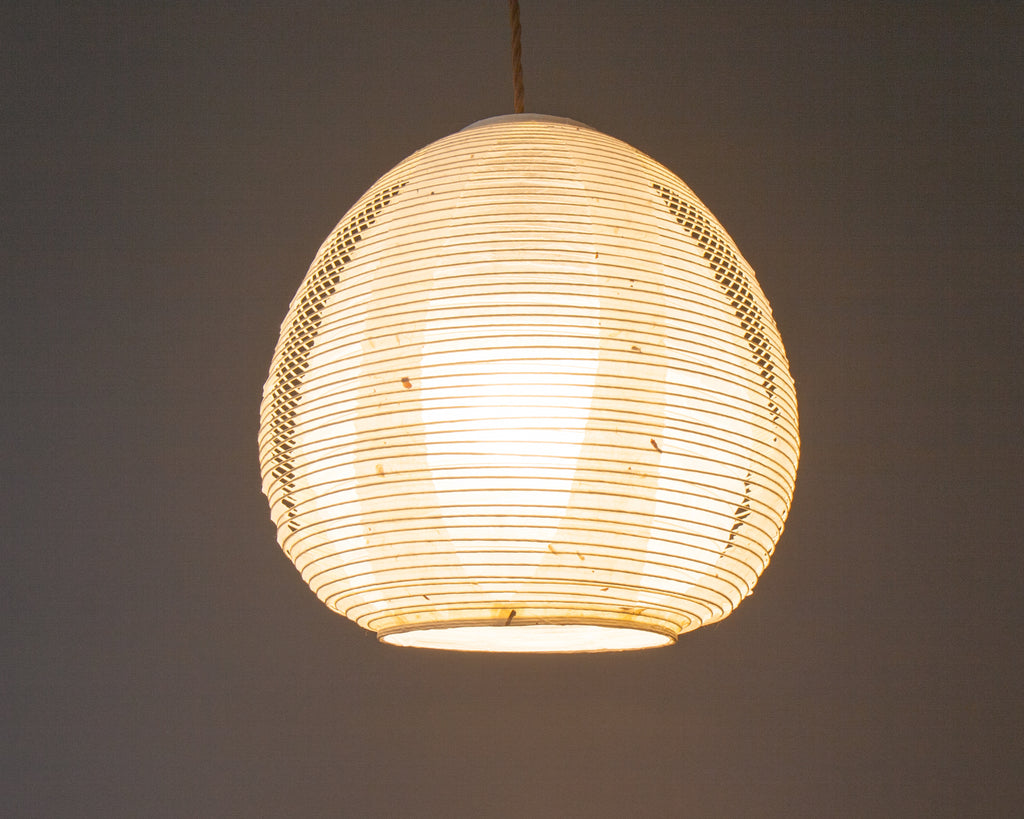 White egg-shaped double-layered Japanese paper lamp shade - straight lit