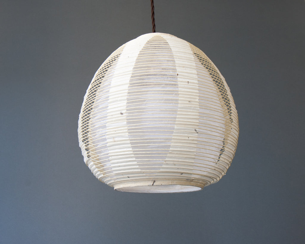 White egg-shaped double-layered Japanese paper lamp shade - straight unlit