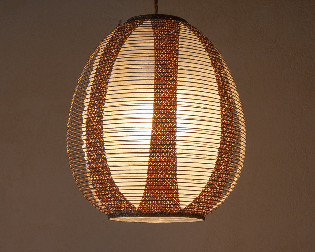 Brown egg-shaped double-layered Japanese paper lamp shade - straight lit