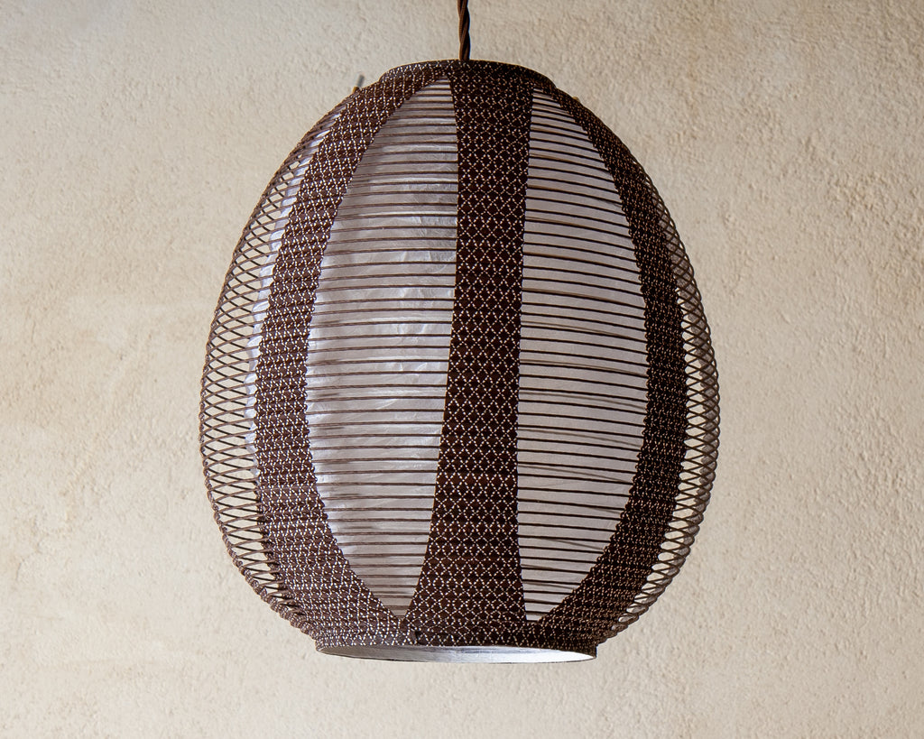 Brown egg-shaped double-layered Japanese paper lamp shade - straight unlit