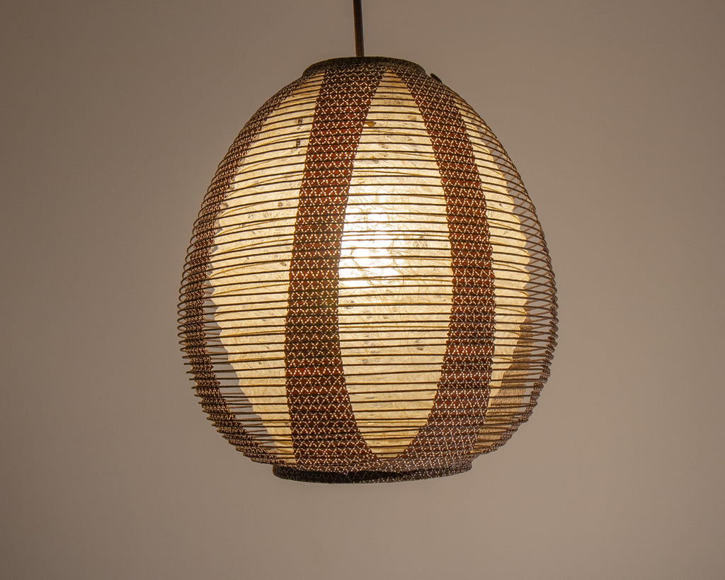 Natural Hemp Washi and Brown Printed Washi Paper Lights