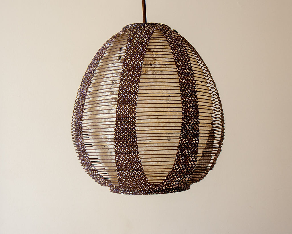 Plain Hemp Inner Tamago Pendant Light, Brown