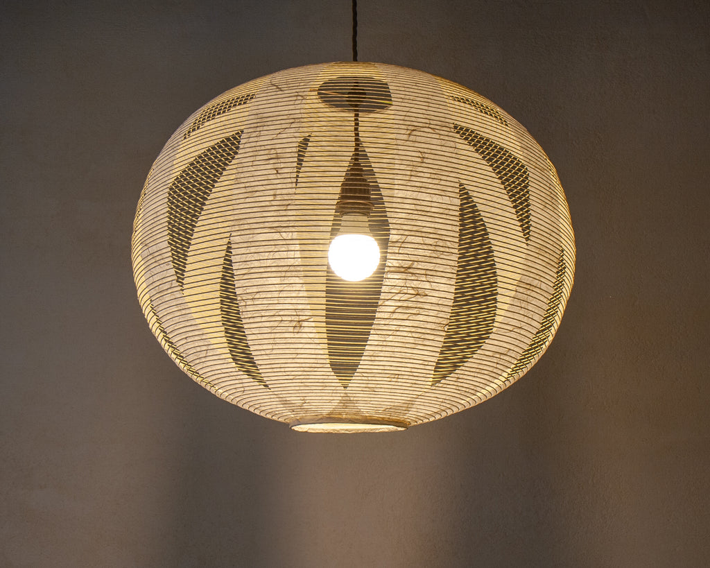 Lovely, structural but organic Japanese paper light (Lit)