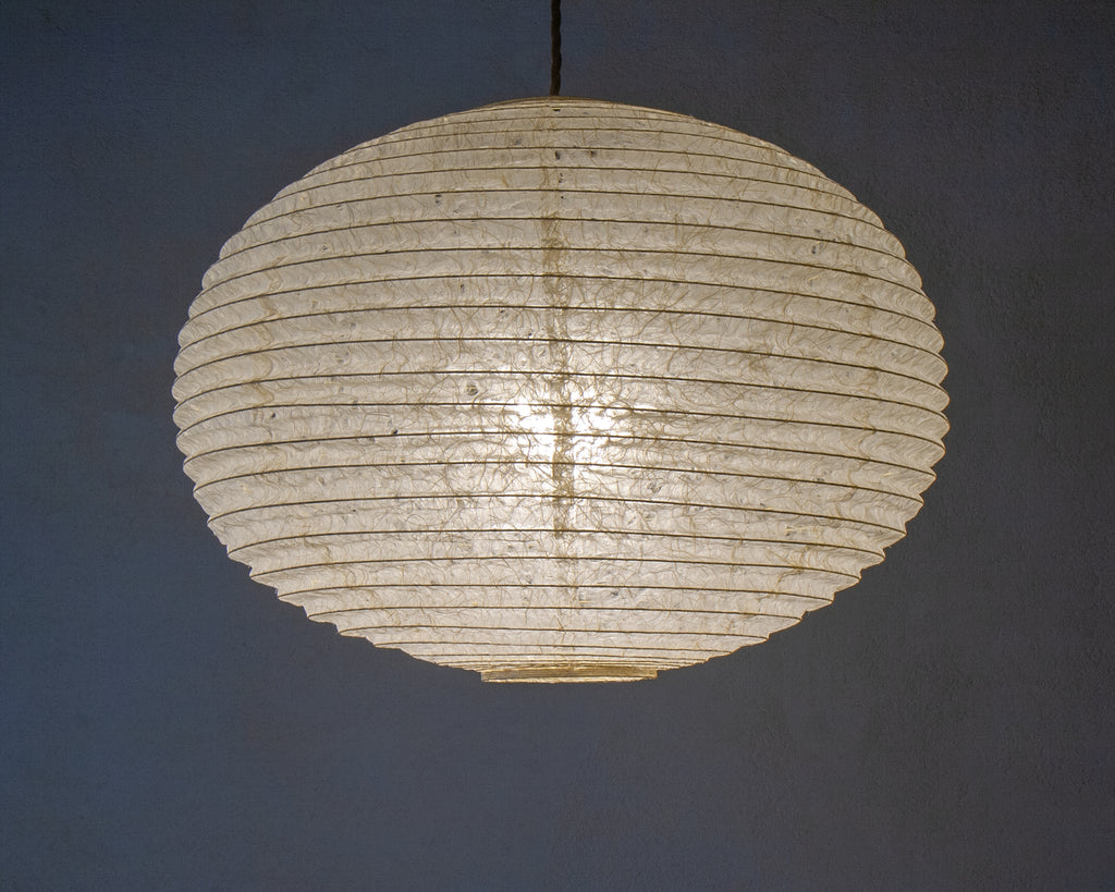 45cm Large Japanese paper light shade - beautiful textured hemp paper (Lit)