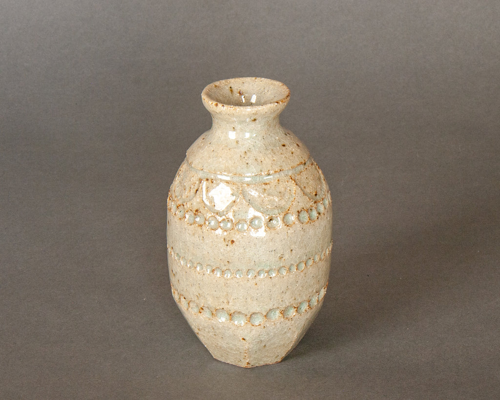 Wood-fired stoneware sake jug vase, handmade in Japan