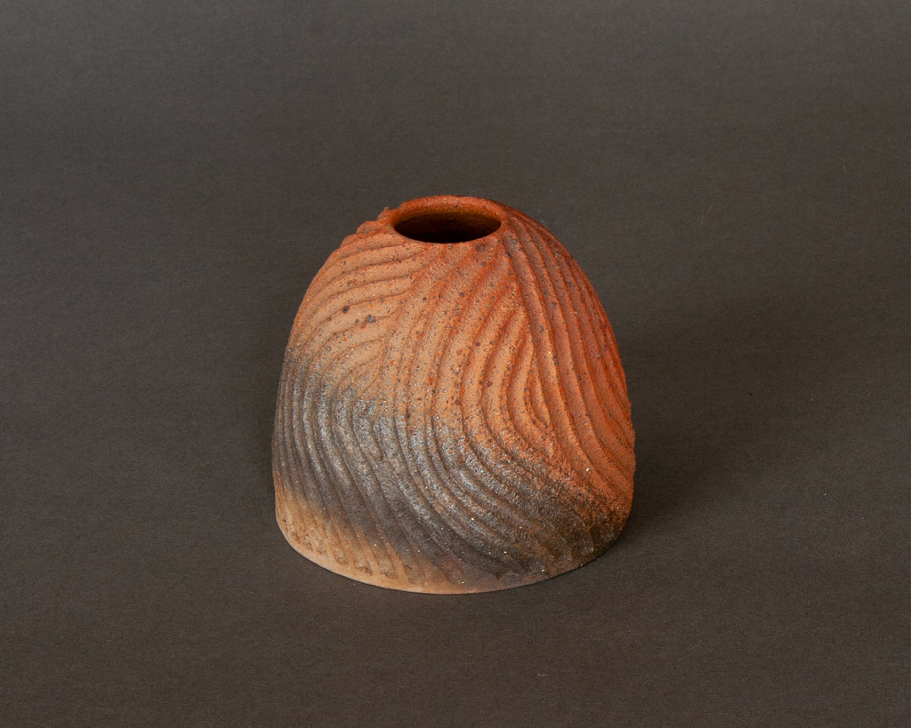 Charming carved and decoarted natural glazed vase, handmade in Japan